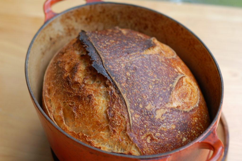 sourdough artisan bread in le creuset
