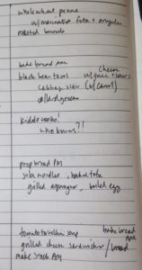 Handwritten meal plan for week of March 26 2018