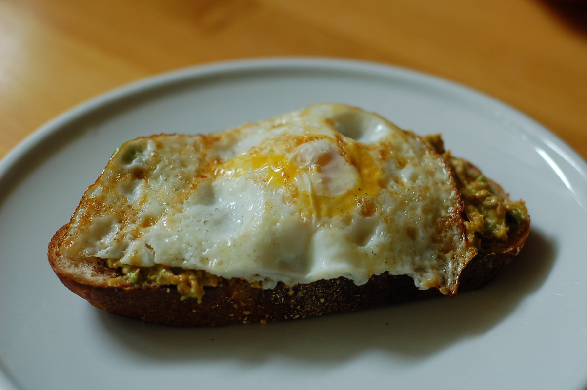 My favorite, perfect lunch: eggy avocado toast with Vegemite and sambal oelek