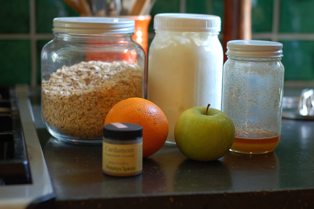 orange cardamom bircher mueseli mise en place