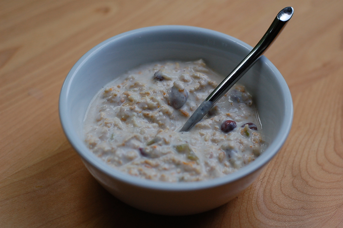 Updated overnight oats: orange cardamom bircher muesli