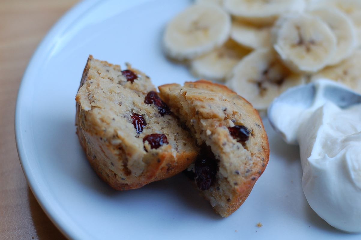 Weekday toaster oven muffins with coconut, chia seeds, and cranberries, plus an Instant Pot yogurt sidebar