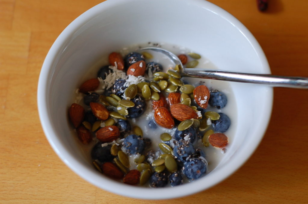 Blueberries nuts seeds oat milk