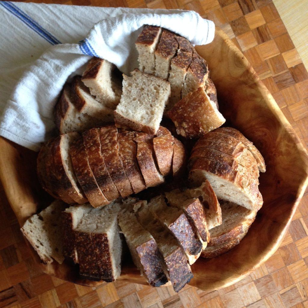 Bowl of sourdough sliced