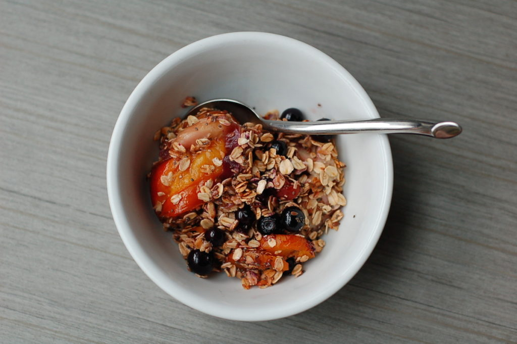 Summer fruit breakfast crumble bowl