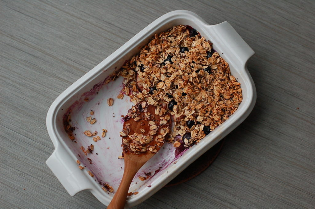Summer fruit breakfast crumble served