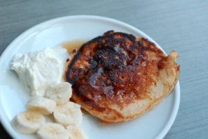 Sourdough oatmeal whole wheat pancake with syrup